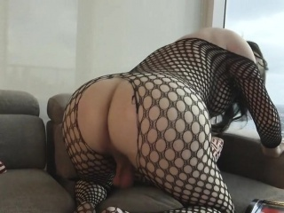 Chubby shemale in lingerie cumming solo