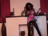cute black girl has fun dancing and showing what her hips c