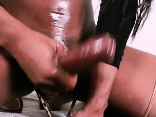 Ebony shemale Brooke Morgan jerking off her big black cock