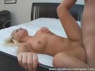 Porn Tube of British Blonde Eats A Cock And Gets Nailed For A Pussy Creampie