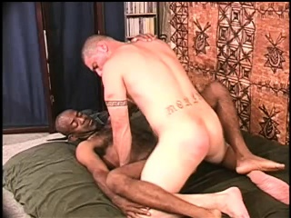 Interracial gay bears take turns fucking each others asses on the bed