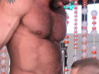 Showering muscle gay jizz