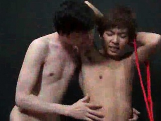 Tied up asian gay gets toyed and fucked anal