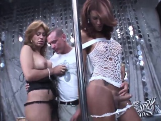 Two shemales double penetrate one dude in various sex poses