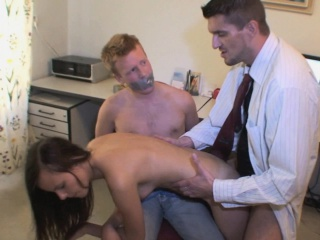 bound and gagged cuckold watches his hot gf suck and fuck another guy
