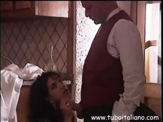 Porn Tube of Young Brunette Italian Gal Sucks Cock In The Kitchen And Gets An Ass Fuck