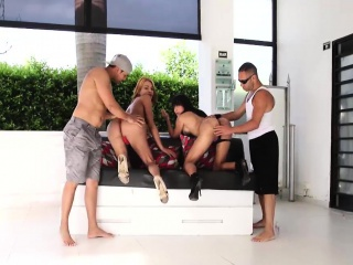 Two tranny chicks Dubraska and Shakira in outdoor group sex