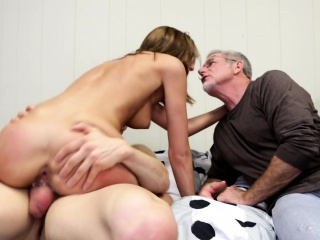 dirty old man watches a sultry young babe wildly fucking a hard cock