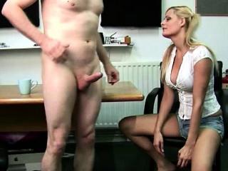 Bad British girls suck CFNM guys cocks