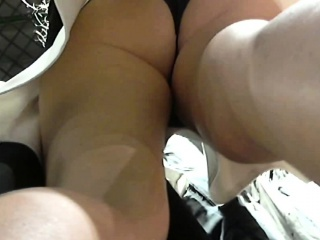 Sexy mature woman upskirt