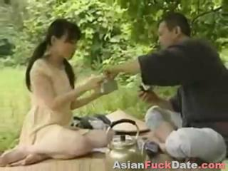 Porn Tube of Horny Chinese Husband And Wife Duo Get Frisky In The Woods