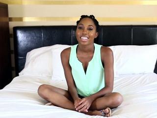 Ebony teen facialized