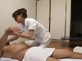 Horny old man has a gorgeous Oriental nurse taking good car