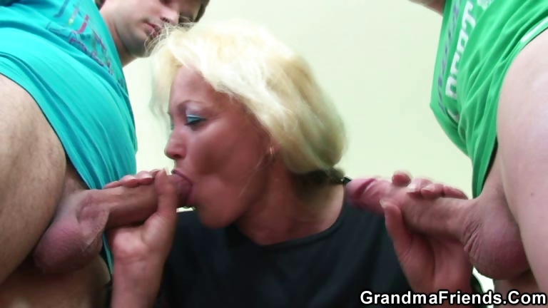 Porno Video of Two Dudes Bang Nasty Old Teacher