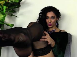busty ellen tries on her stockings