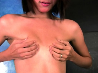 Feminine ladyboy in lingerie flashes hairy ass and wanks off