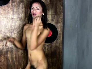 Black hair femboy poses nude and masturbates shemale penis