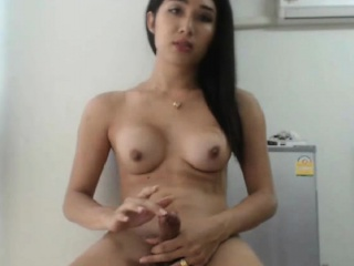 hot asian in blue lingerie solo playing