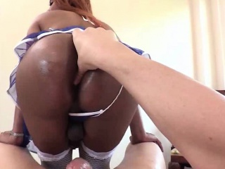 Ebony shemale gets her butt drilled