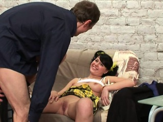 Youthful angel is being ravished by a lusty mature stud