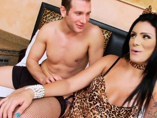 Big tits tattooed shemale fucked horny guy on the bed