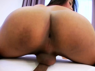 Small titted Asian shemale Tongta jerk off her huge prick