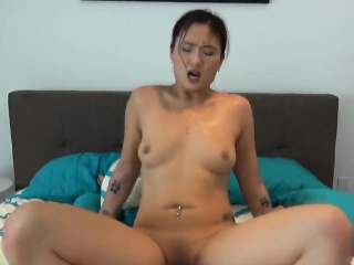asian shy girlfriend rips her smooth bald amateur pussy