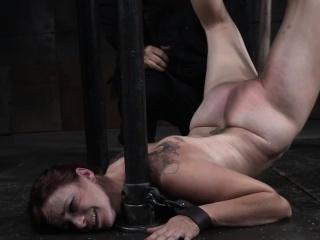 tit bondage slave gagging on a big dildo