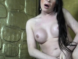 Solo Russian trans jerking her hard dick