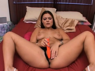 alluring girl with big hooters and sexy legs brings herself to orgasm