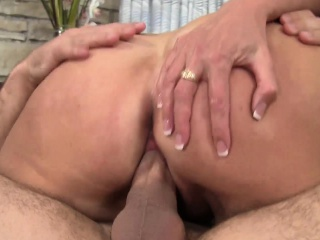 curvy brunette mom in stockings has a young man banging her wet pussy