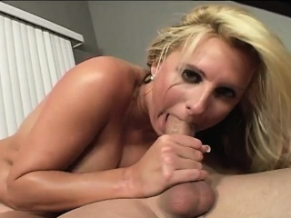 buxom blonde chews on his meat and gets her trimmed snatch tapped