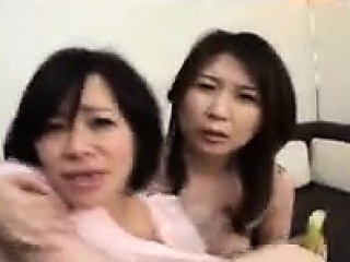 two naughty oriental housewives work their sexy lips on a d