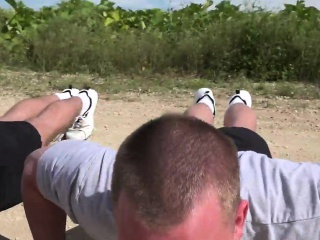 Muscular military hunks steamy outdoor orgy