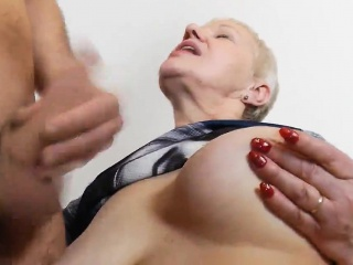 cum on granny's boobs