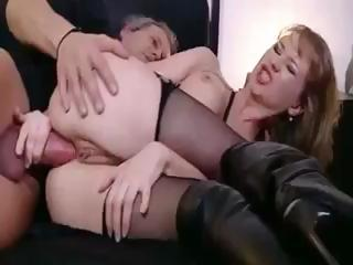 Porn Tube of Hot Blonde Beauty In Leather Takes His Cock For A Ride On The Booty Train