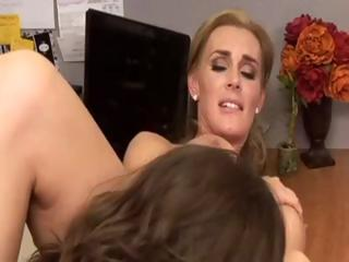Lesbian MILF going after a hot secretary in office love and pussy licking