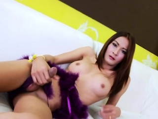 Asian Shemale Toon Strokes Her Big Cock