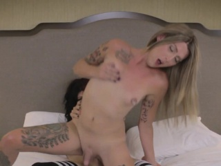 tattooed shemales buttfuck after cocksuck