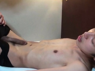 Asian gay gets cock rubbed and ass fucked
