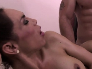 horny ts slathers her breasts in sperm