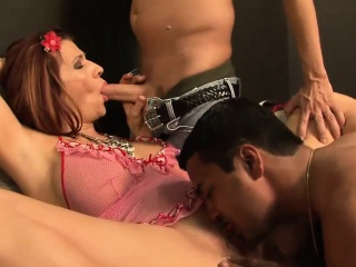 stacked mature redhead pleasures numerous cocks