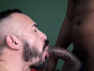 ebony bear sucking and fucking white lover
