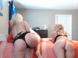 two blonde milf fucks each other