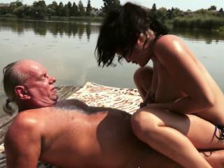 euro babe pissing over grandpa
