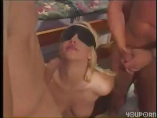 Porn Tube of Blindfolded Blonde Bitch Jessica Darlin Gets Double Penetration And A Facial