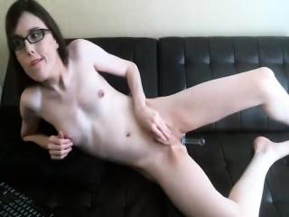 Feminine Teen Shemale with Glasses Masturbating on Cam