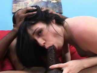 pale white brunette with big hooters sucks and fucks a huge black rod