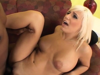 bodacious blonde enjoys every deep thrust of black meat in her peach