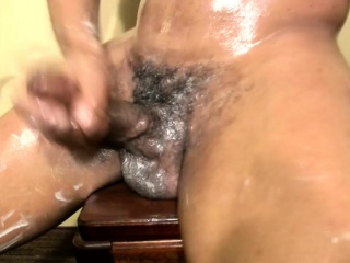 Ebony shemale gets messy and strokes shecock until cumshot
